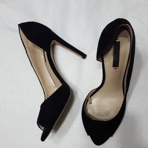 ZARA Basic collection black suede peep toe heels
